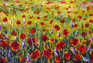 """Картина, постер, плакат, фотообои """"красные маки тюльпаны розовые цветы в зеленой травяной мастихин картины фон моне картины импрессионизм рисовать пейзаж цветочный луг луг иллюстрация маслом """", артикул 346251650"""