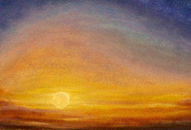 Beautiful warm sky - abstract oil painting background - yellow orange purple gradient summer sky