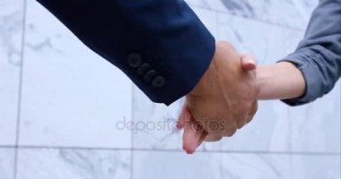Handshake between woman and man