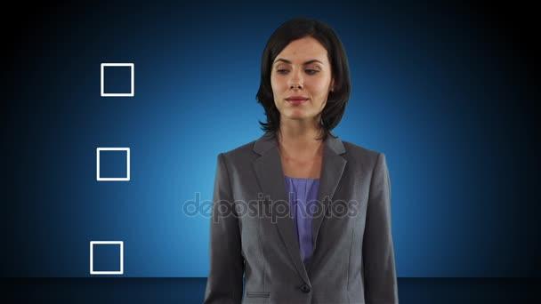 Obchodní žena výkresu zaškrtávací značka