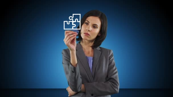 Businesswoman holding puzzle piece