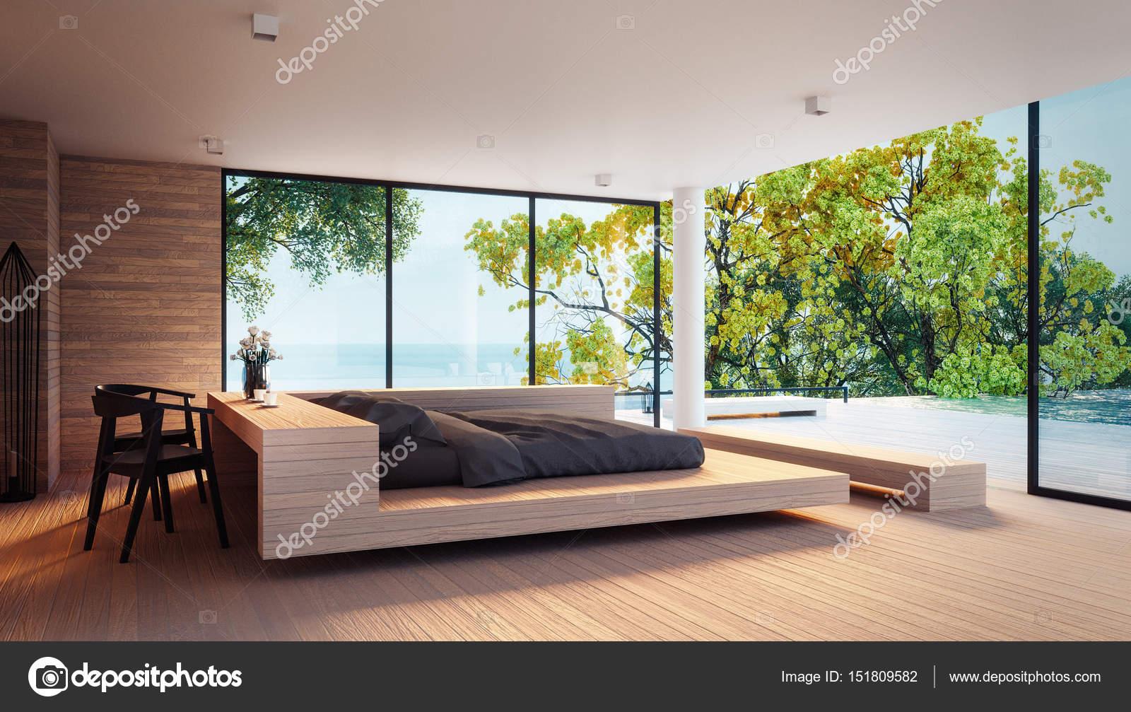 Das Moderne Schlafzimmer   Blick Auf Das Meer Für Ihren Urlaub Und Sommer /  3d Rendering Interieur U2014 Foto Von Tontectonix