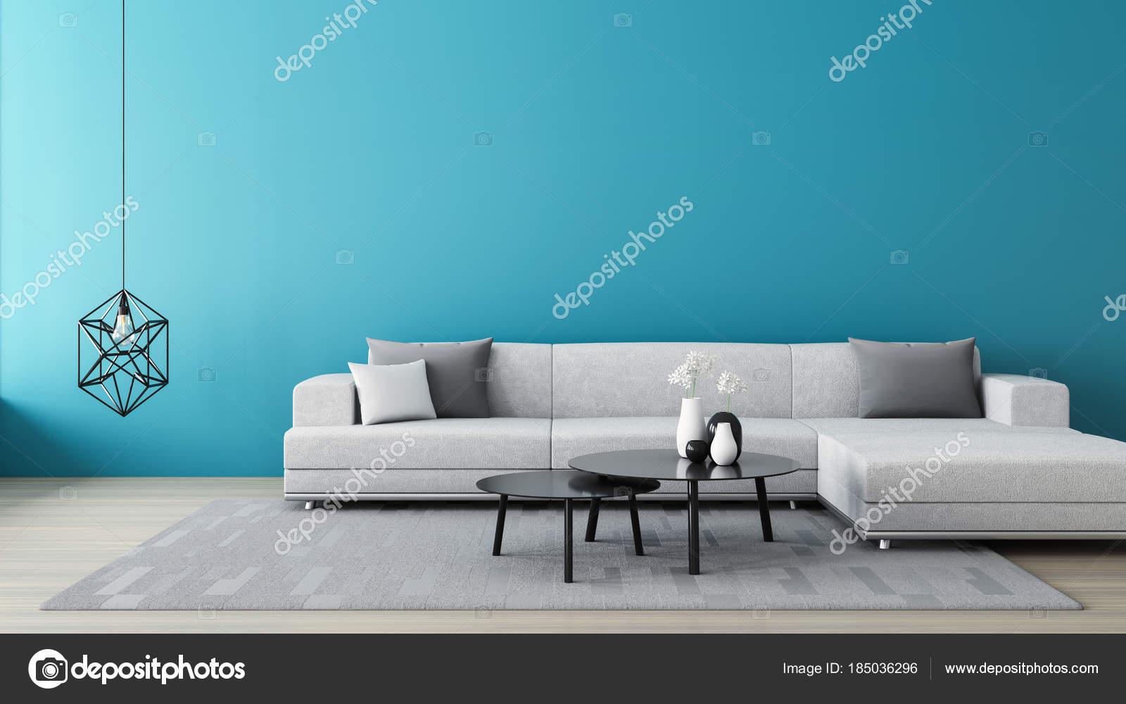 blauwe muur woonkamer 3d render interieur foto van tontectonix