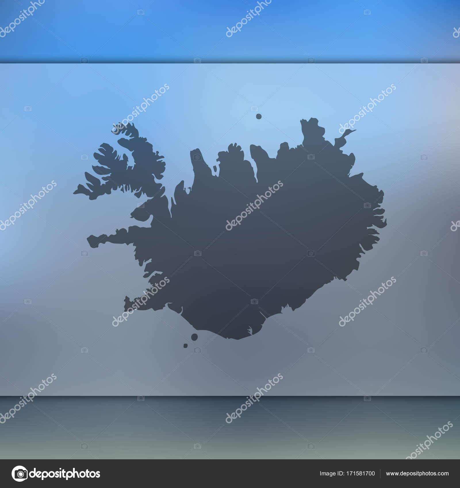Iceland map. Vector silhouette of Iceland. Blurred ...