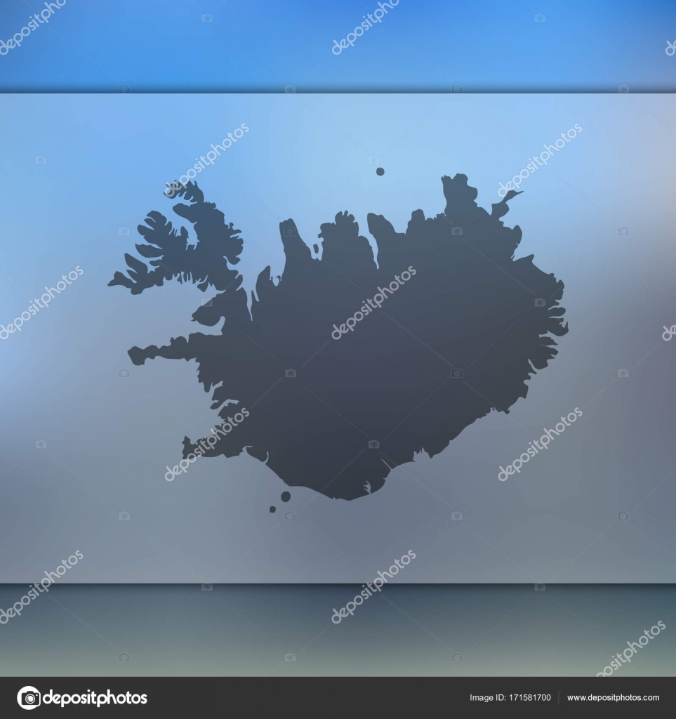 Iceland map. Vector silhouette of Iceland. Blurred background ...