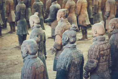 Terracotta Army of soldier sculptures group  in Xian, China