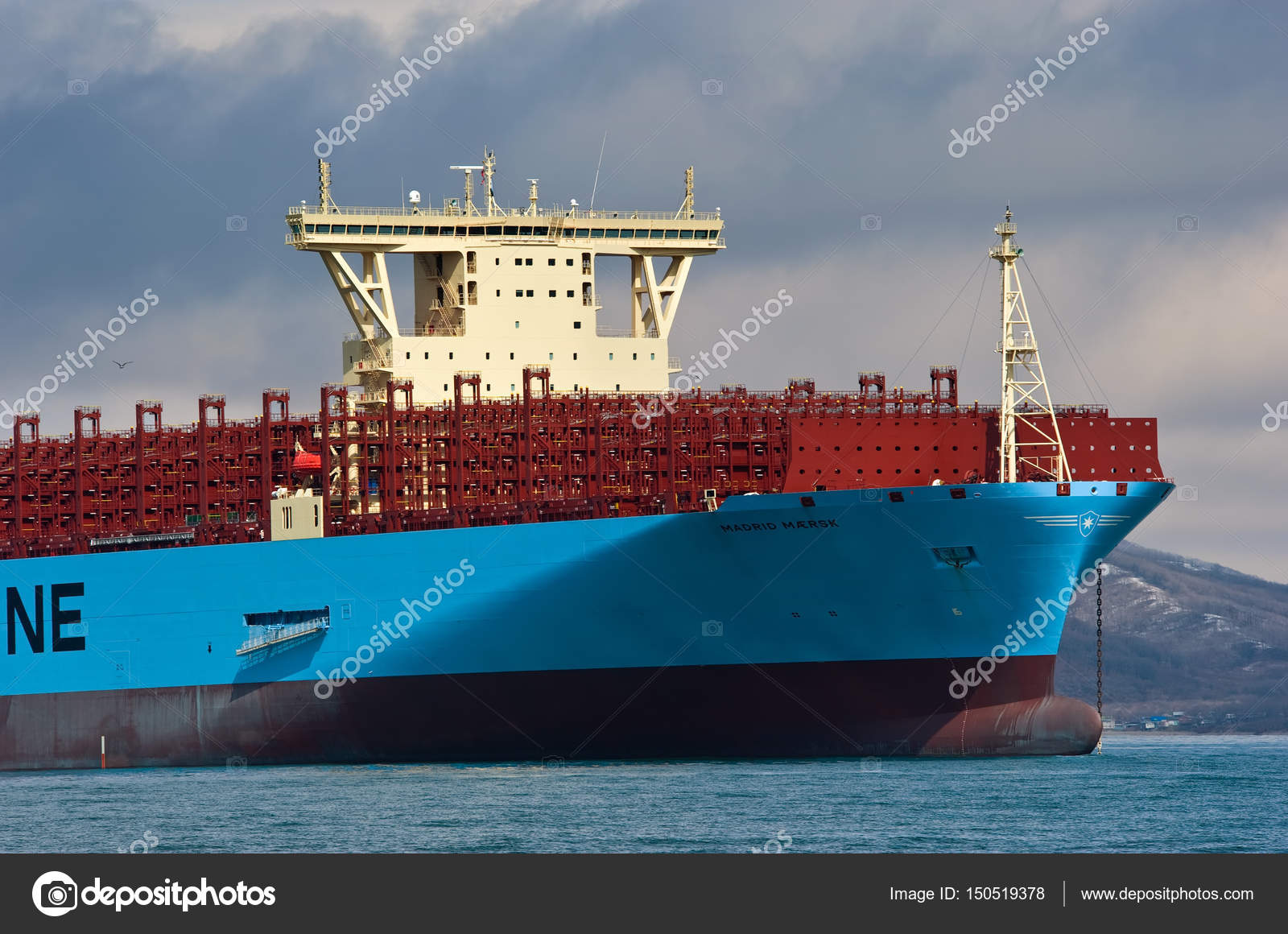 The bow of a huge container ship Madrid Maersk  – Stock