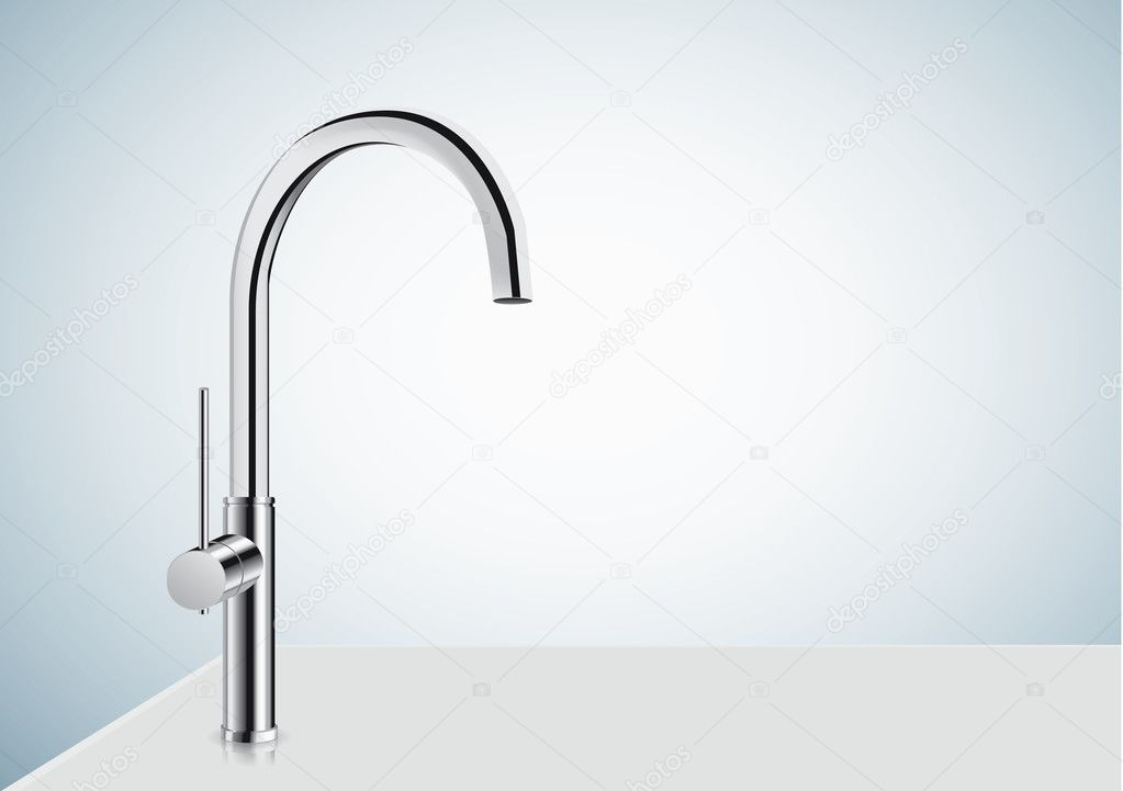 Silver chrome kitchen faucet. — Stock Vector © solar22 #126049804