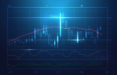 Vector stock charts and market analysis in blue theme.