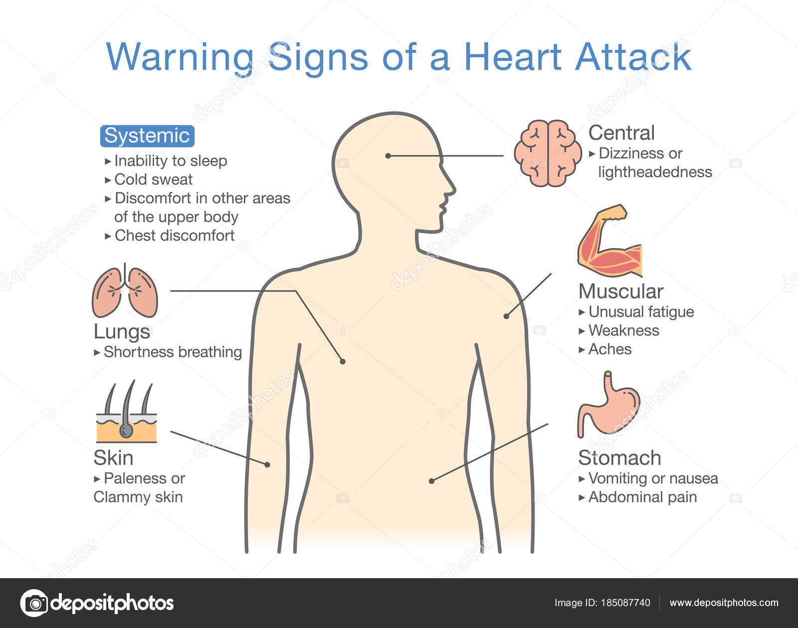 Diagrama Señales Advertencia Ataque Corazón Ilustración Sobre ...