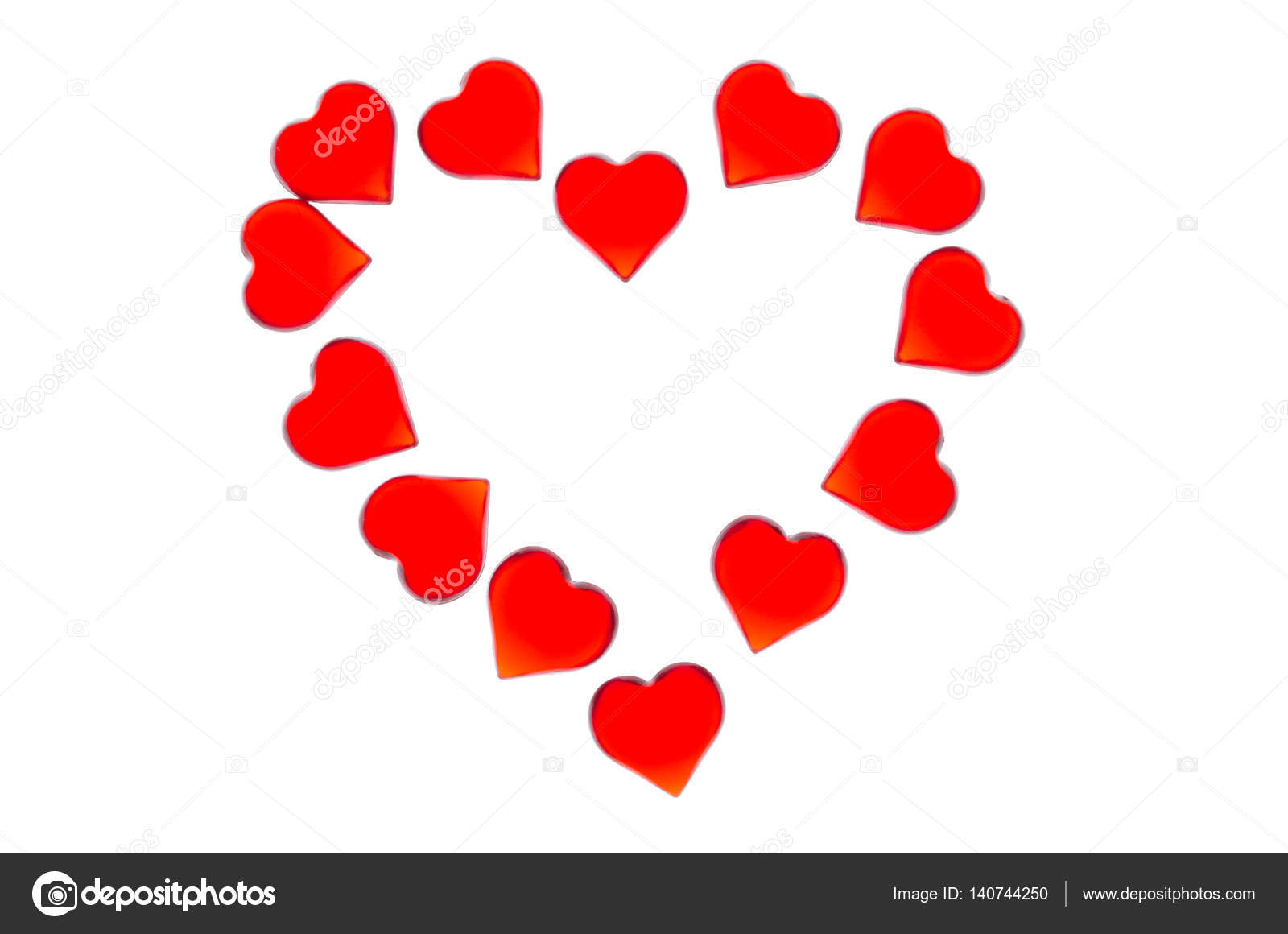 Bright Red Hearts On A Striped Background In The Form Of A Large