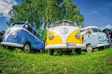 Three Volkswagen Transporter Beetle on the meadow