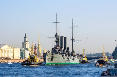 The cruiser Aurora on the Neva River in St. Petersburg. Bridges, Peter and Paul Fortress, Kunstkamera