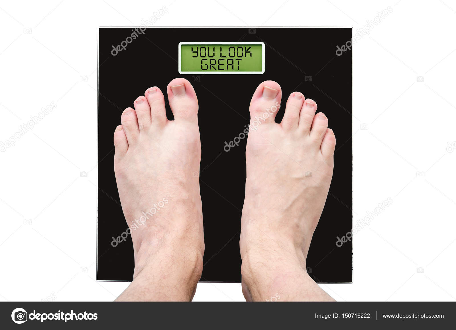 Man On Scales With Normal Weight And Good Health The Inscription You Look Great