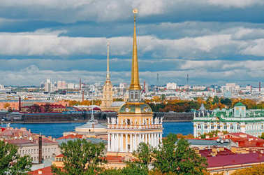 Beautiful view to spires of Admiralty and Peter-Pavel's Fortress from Isaac cathedral, Saint Petersburg, Russia.