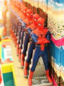 A number of spider man toys. Russia, Saint-Petersburg. 10 November, 2017.