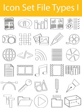 Drawn Doodle Lined Icon Set File Types I