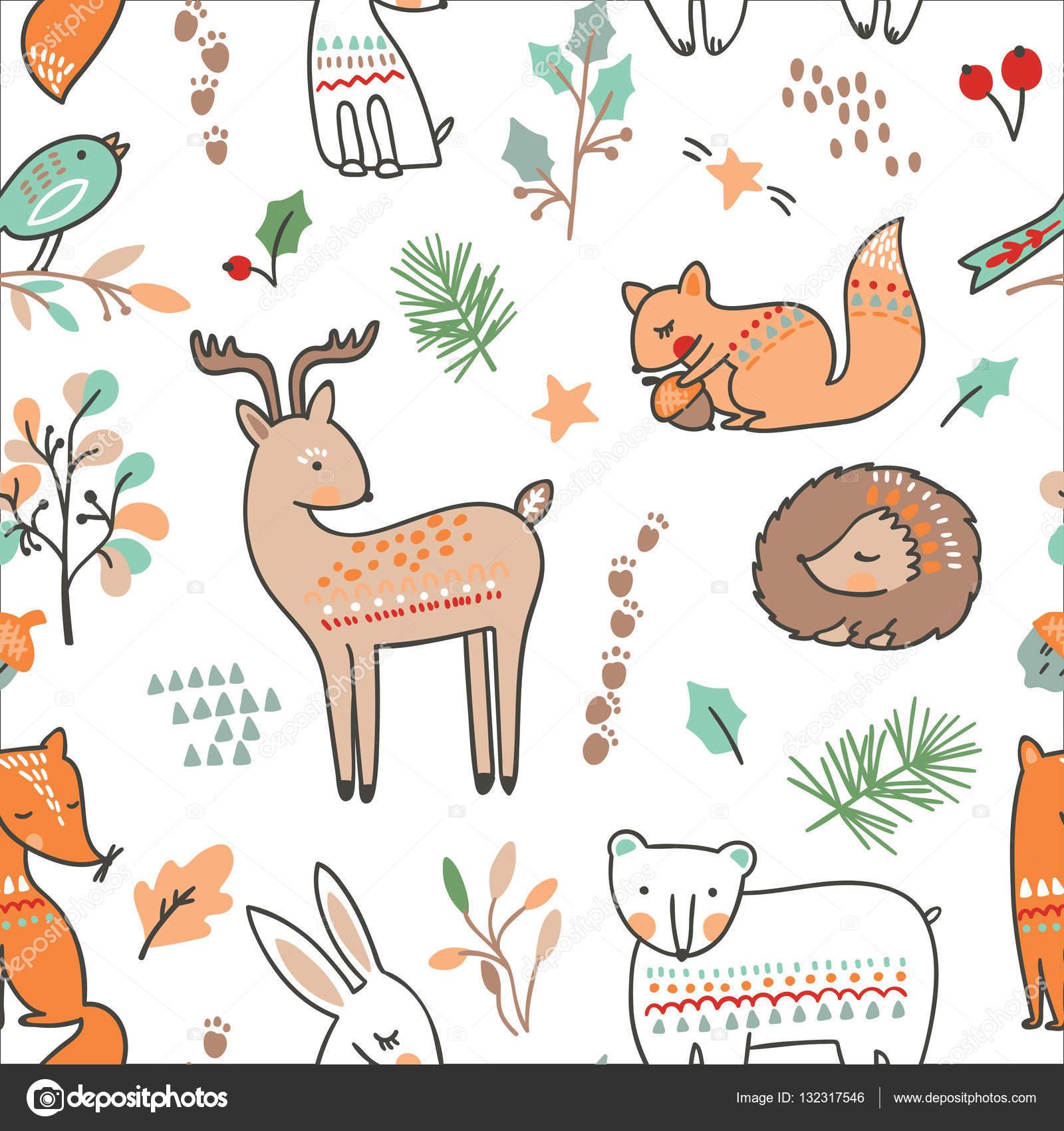 冬動物シームレスなパターン — ストックベクター © maria_galybina