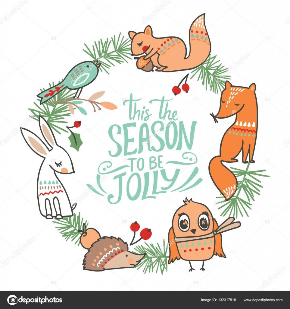 冬動物クリスマス カード — ストックベクター © maria_galybina #132317818