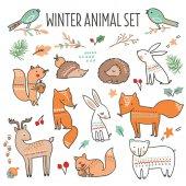 Fotografie Christmas set mit süßen Waldtiere