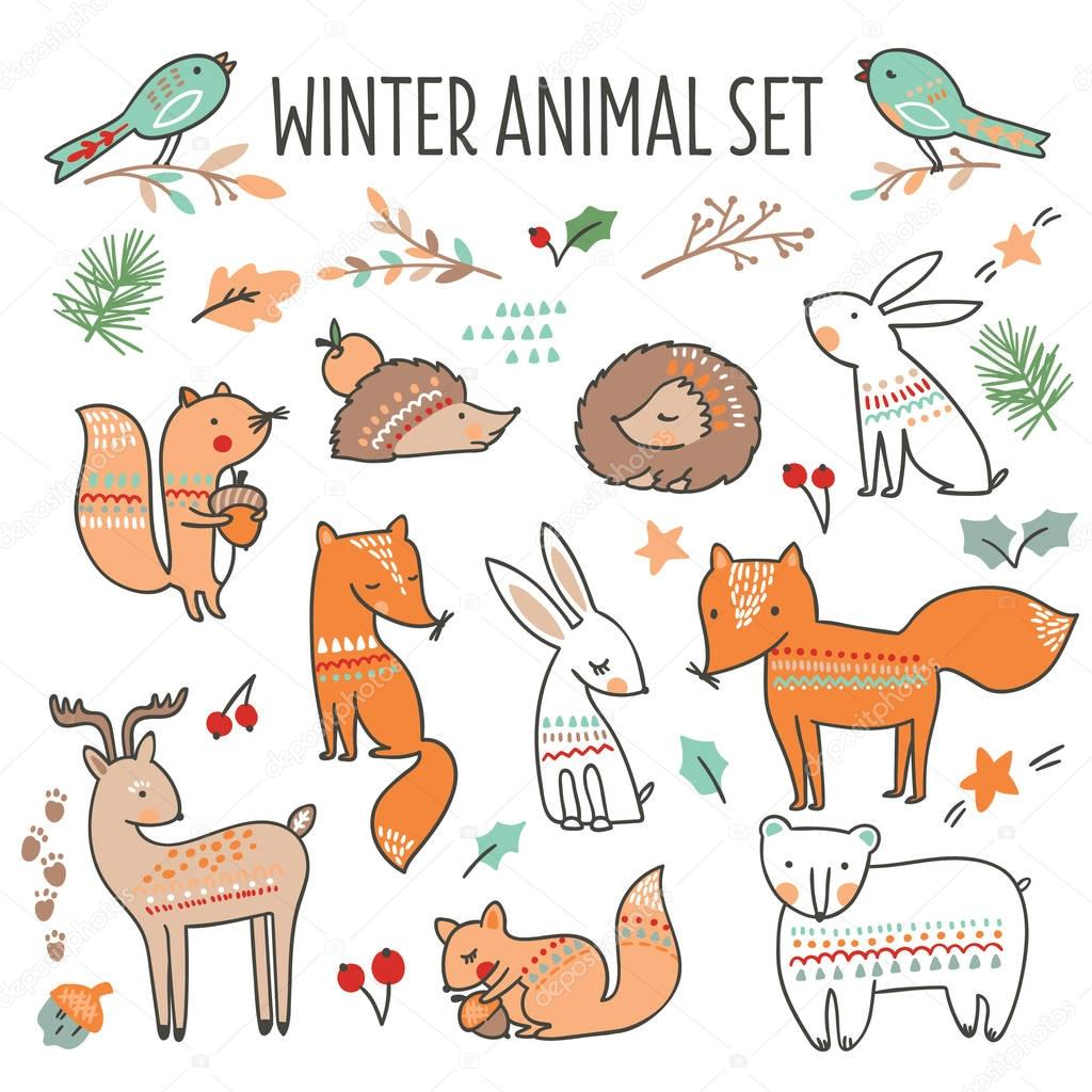 Christmas set with cute forest animals