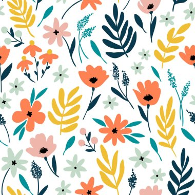floral pattern with flowers and leaves.