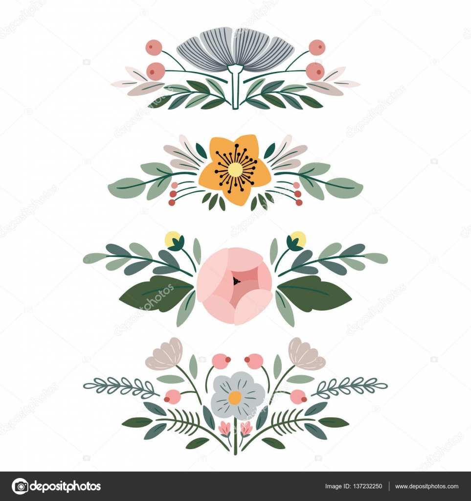 Vector set with vintage flower bouquets — Stock Vector ...
