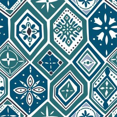 Gorgeous seamless pattern with indigo blue tiles, ornaments.