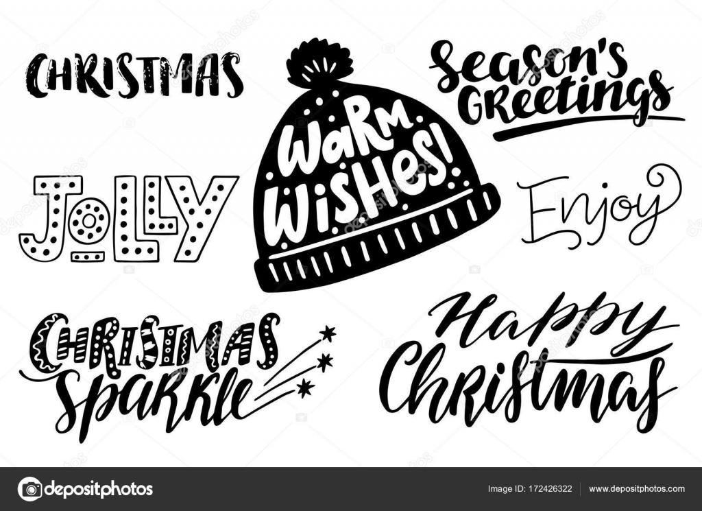 Frases de Navidad feliz conjunto, vector texto para tarjetas de ...