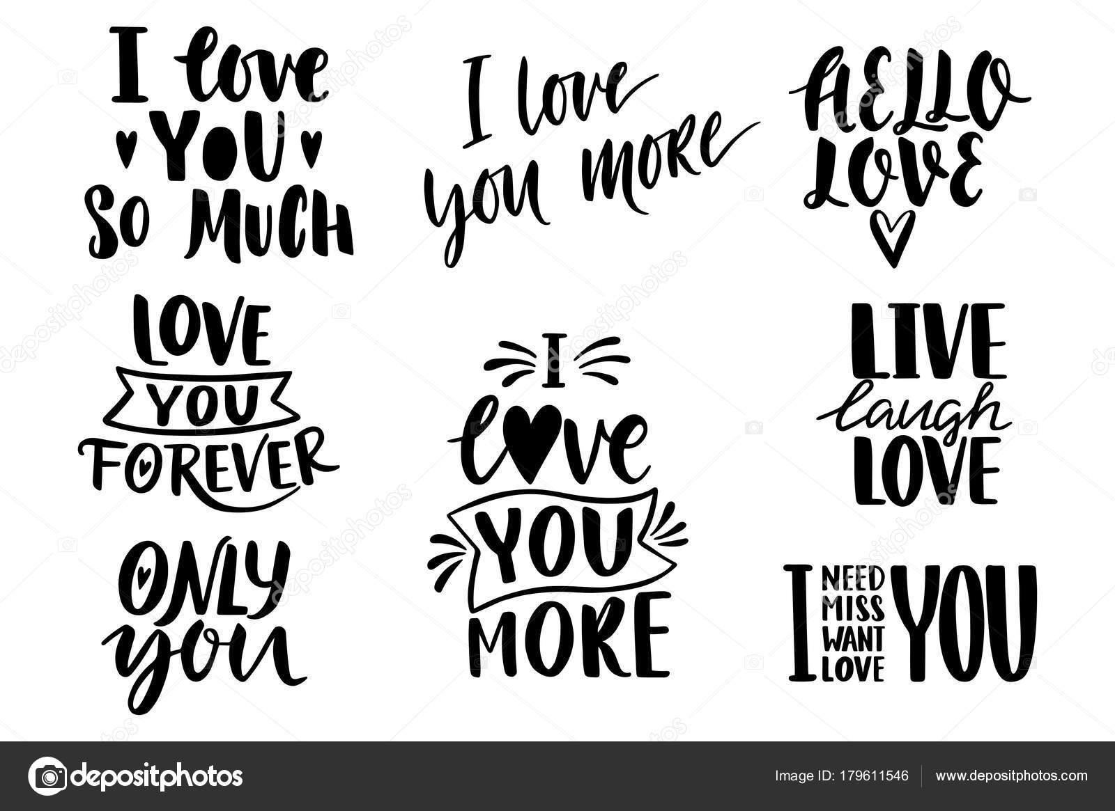 Citaten Valentine Belettering Liefde Collectie Hand