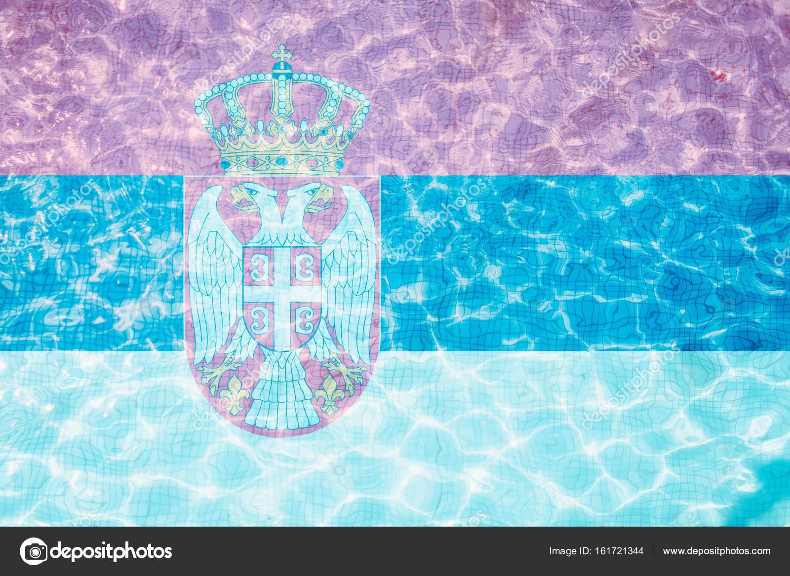 Bandiera della serbia piastrelle in piscina u foto stock