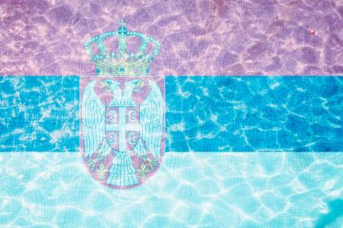 Flag of Serbia tiles in pool