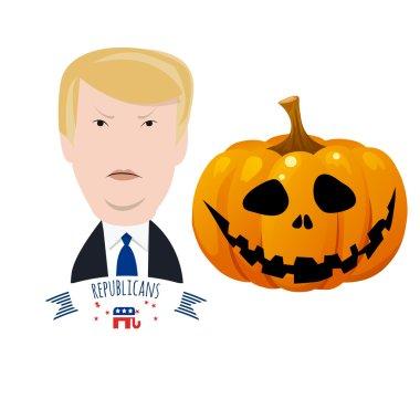 Donald Trump against halloween pumpkin