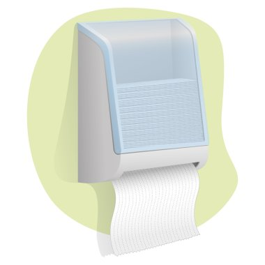 paper door Illustration towel wall mounted. Ideal for product catalogs and hygiene information