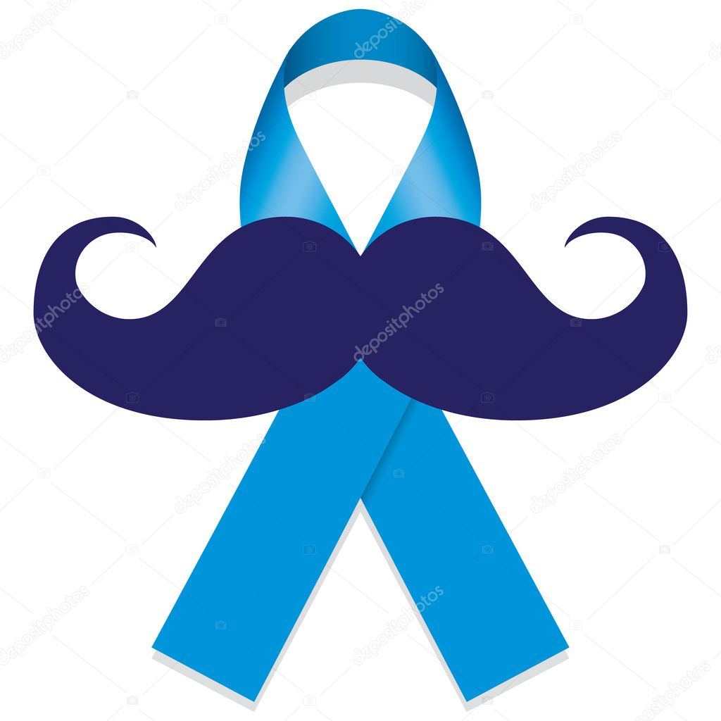 Movember Blue Against Prostate Cancer Blue Ribbon With A