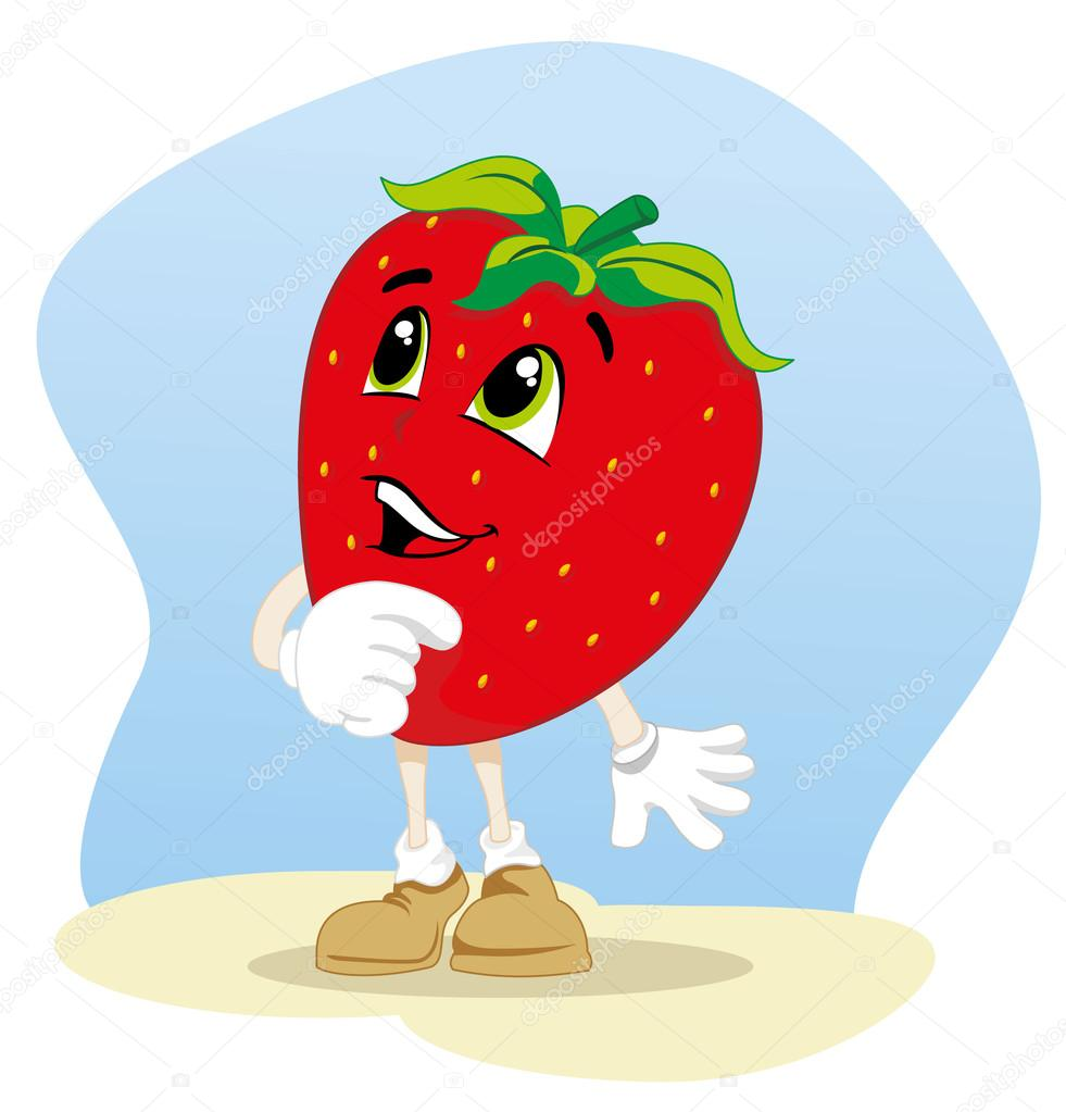 Illustration mascot fruit strawberry. Ideal for children's stories and information