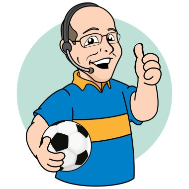Illustration mascot bald person, commentary or sports narrator of football. Ideal for promotional or institutional materials