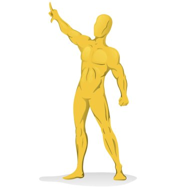 Illustration of golden person statue with arm raised. Ideal for visual communication, information and institutional material