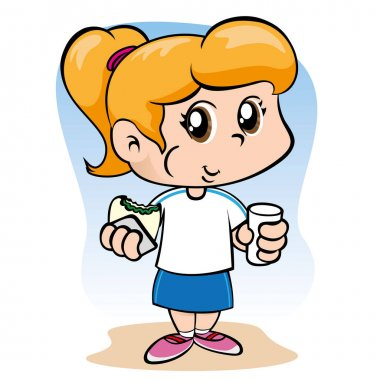 Illustration representing a child girl eating and drinking a snack. Ideal for educational and institutional materials
