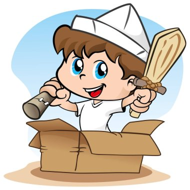 Illustration representing Child playing make believe and a pirate