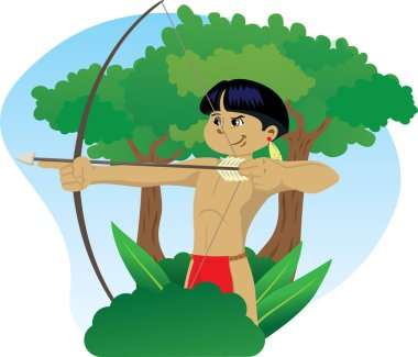 Illustration representing Indigenous Child of Brazilian culture, wielding a bow and arrow in the forest of Brazil