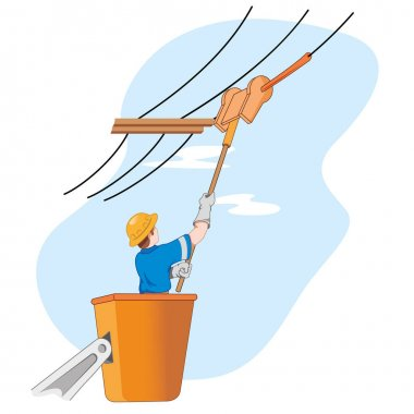 Illustration shows the employee doing maintenance mains