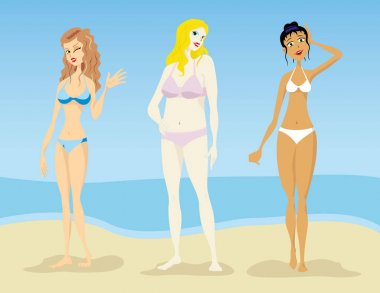 Illustration of Women, models of oval silhouettes, hourglass, pear triangle, lean, slender fat. Ideal for catalogs and fashion and beauty materials