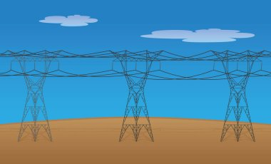 Illustration of electric power transmission towers and high voltage cables. Ideal for training and institutional material