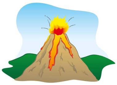 Illustration of a natural catastrophe, Nature's strength a volcano erupted. Ideal for educational and institutional materials