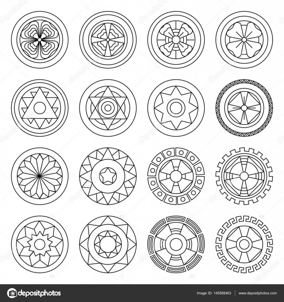 Mandalas geométricos icono colorear. Ideal para comunicación visual ...