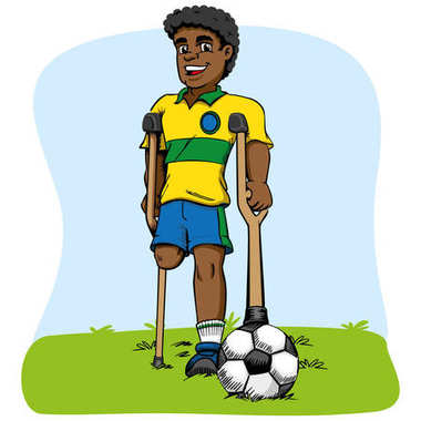 Illustration of afrodescendant mascot, one-legged football player adapted. Ideal for medical and educational materials