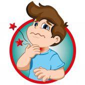 Obrázek znázorňuje charakter dítěte s chomáč, příznaky bolesti v krku. Ideální pro zdraví a institucionální informace