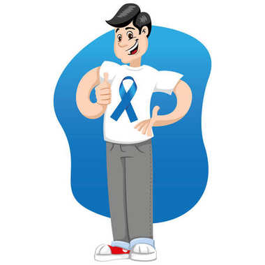 male mascot supporting movember blue, against prostate cancer, wearing a white shirt with blue tape. Ideal for educational materials and information