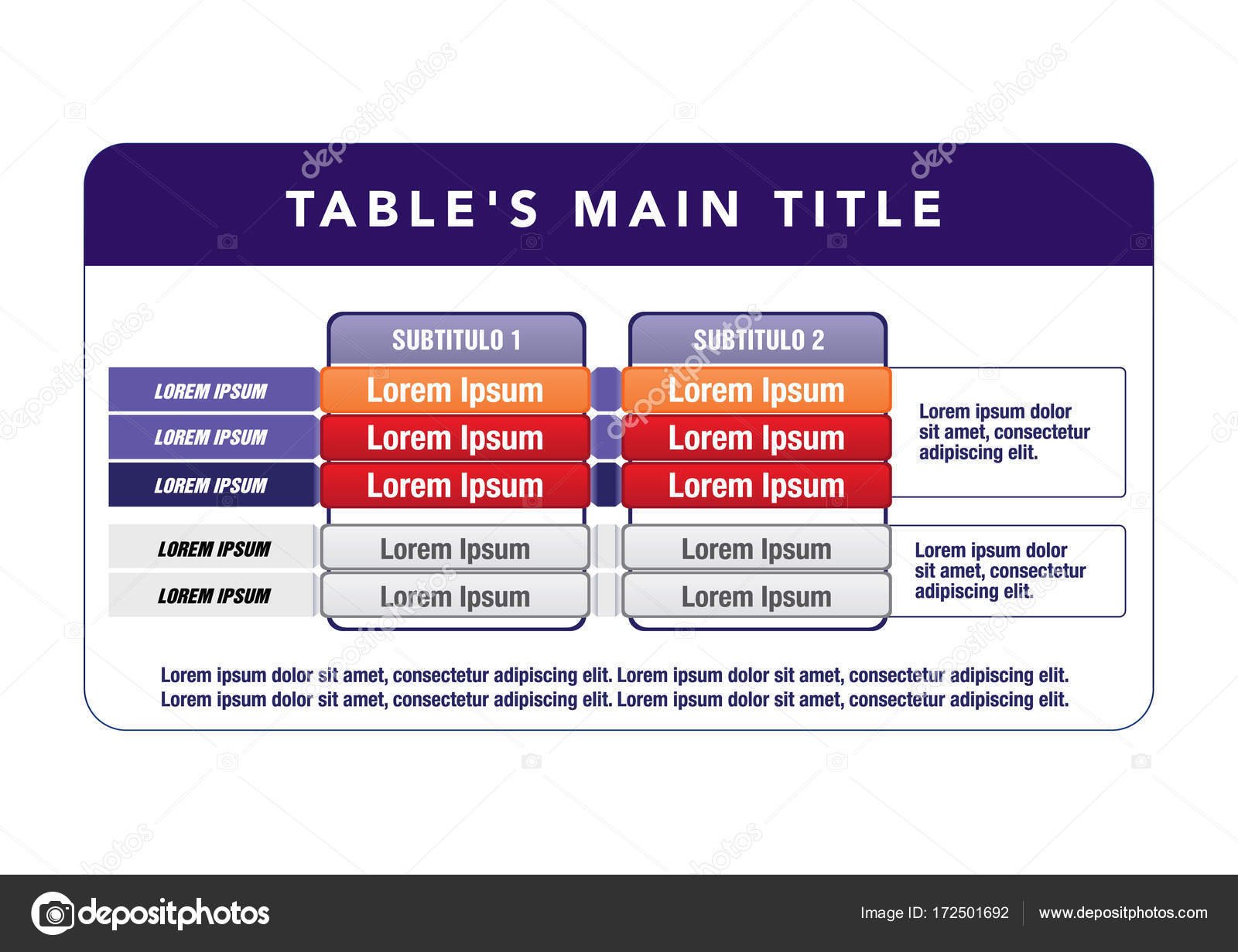 Data table template. ideal for presentations and institutional ...